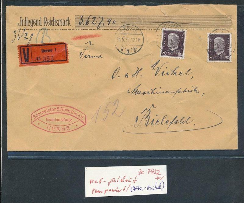 D.-Reich  ramponierter Wert Brief    MEF.....  ( ze 7452 ) siehe scan !