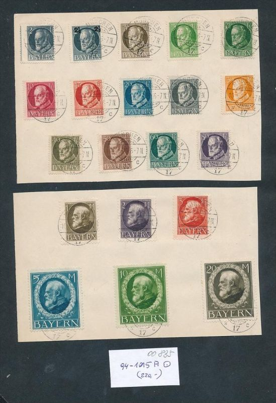 Bayern Nr. 94-115  A....nettes Sammler Blatt zeitgerecht o   (oo835 ) -siehe Bild
