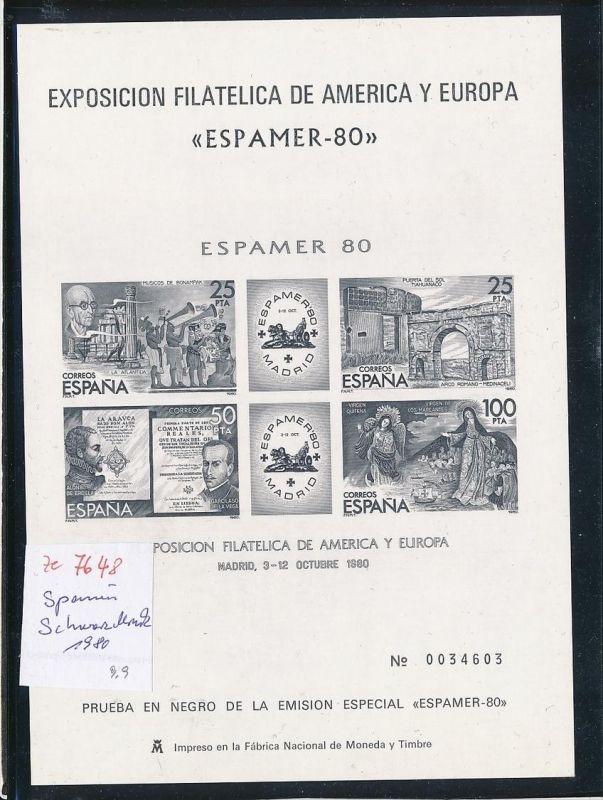 Spanien Souvenier-Schwarzdruck Block 1980    (ze7648 ) -siehe Bild