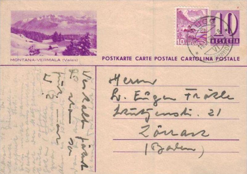 Schweiz Ganzsachen  -Karte  ( ka  1923 ) siehe scan !