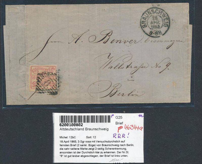 Braunschweig  Nr. 12 bC auf Brief lose schon -Rare !    (p4634  ) siehe scan