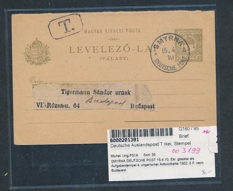 Ungarn GS mit Stempel D.P in der Türkei- netter Beleg.....   (oo3199  ) siehe scan