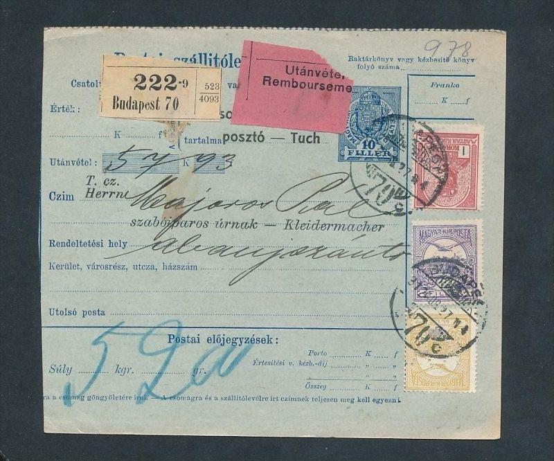 Ungarn Paket Karte  (ze4074   ) siehe Bild !