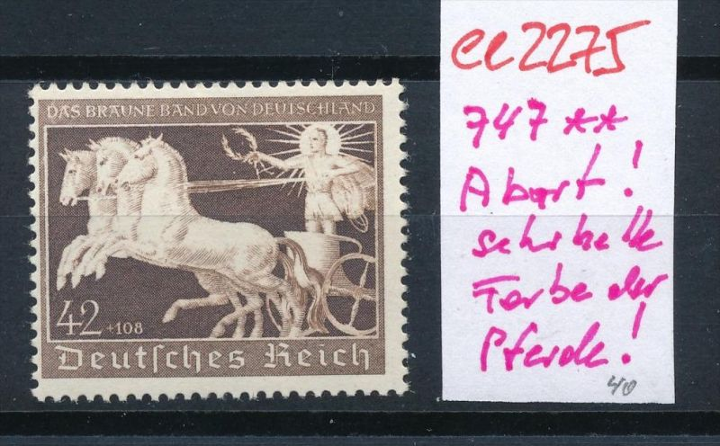 DR Nr.747  Abart Farbe (!)     **  (ee2275 ) siehe scan