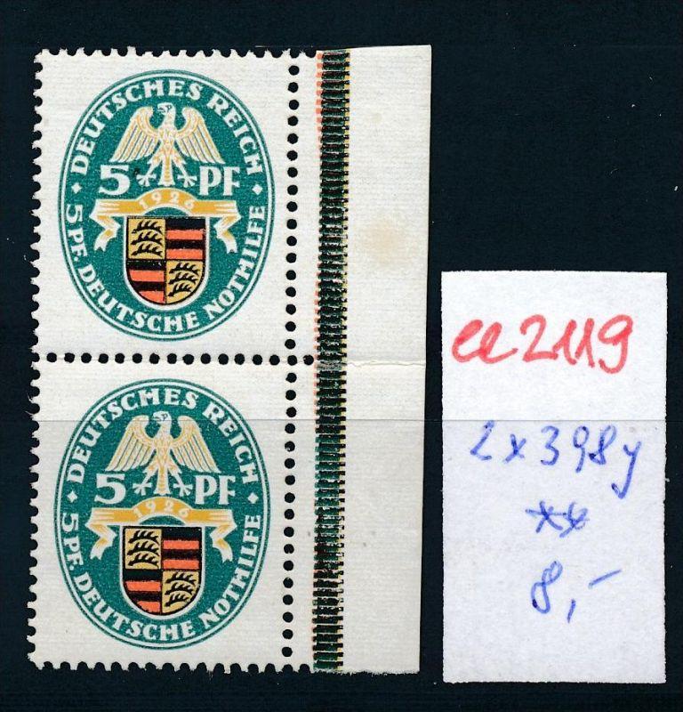 D.-Reich Nr. 2x 398 **   (ee2119  ) siehe scan
