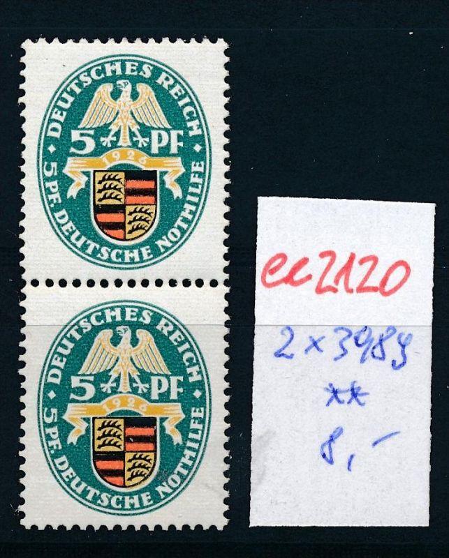 D.-Reich Nr. 2x 398 **   (ee2120  ) siehe scan 0
