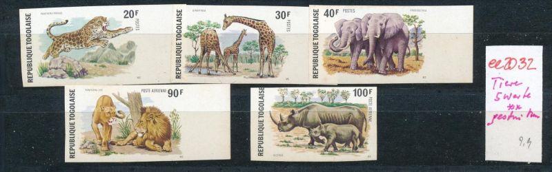 Togo 5 Werte Wildtiere geschnitten     ** (ee2032 ) siehe scan