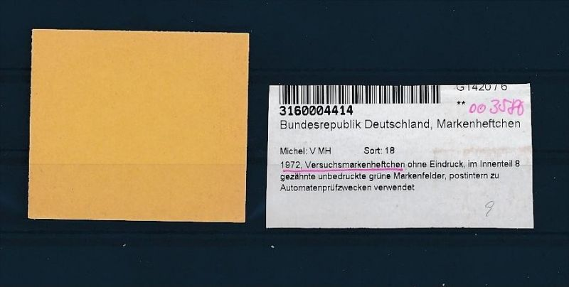 BRD  Versuchs Heft selten .... ( oo3580 ) siehe scan !