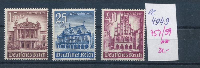 D.-Reich Nr. 757-59   **    (ee4949  )siehe scan....!