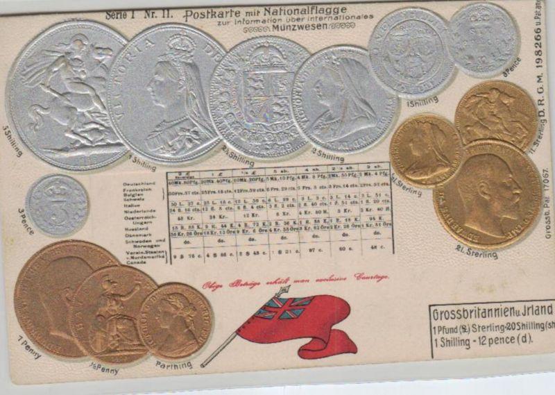 Motiv-MünzenPräge -  UK  - schöne alte Karte ....   (ka5327  ) siehe scan