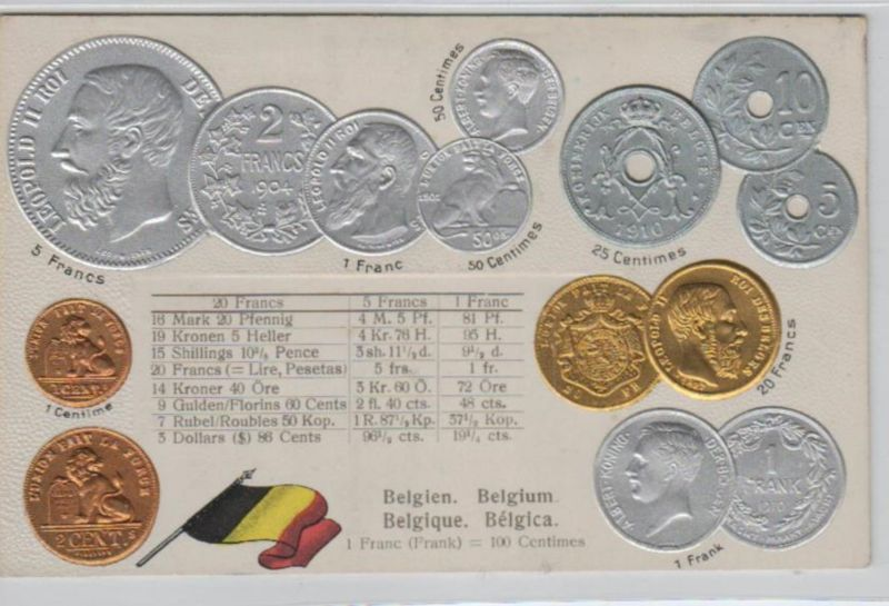 Motiv-MünzenPräge -  Belgien  - schöne alte Karte ....   (ka5329  ) siehe scan