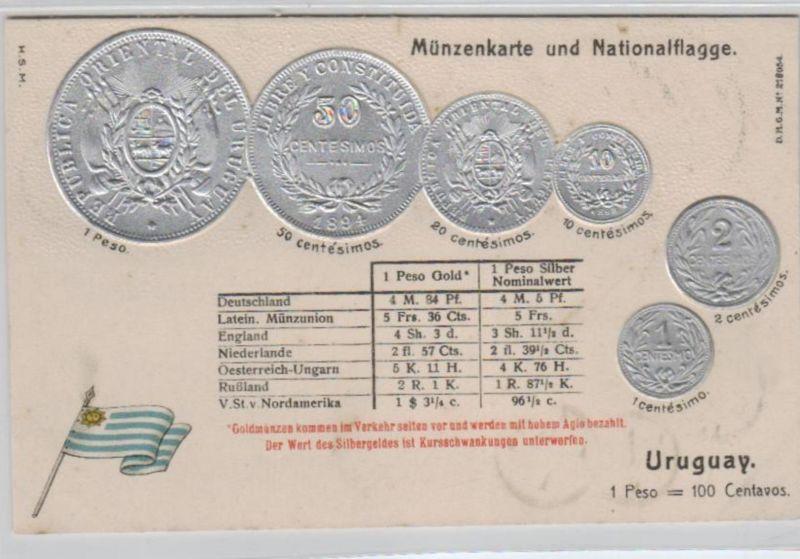 Motiv-MünzenPräge -  Uruguay  - schöne alte Karte ....   (ka5331  ) siehe scan