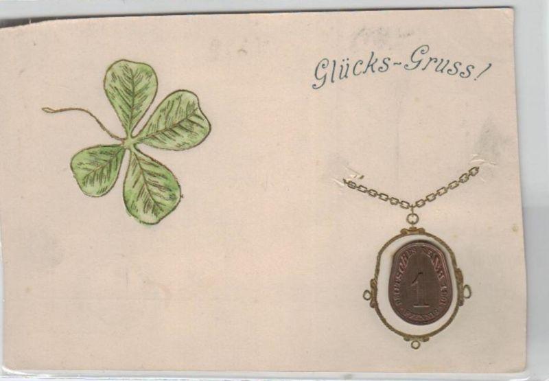 Motiv-MünzenPräge -  mit Glückpfennig   - schöne alte Karte ....   (ka5335  ) siehe scan