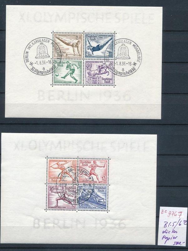 D.-Reich Block 5+6 Z dickes Papier o-STEMPEL.....    (ze9767  ) siehe scan