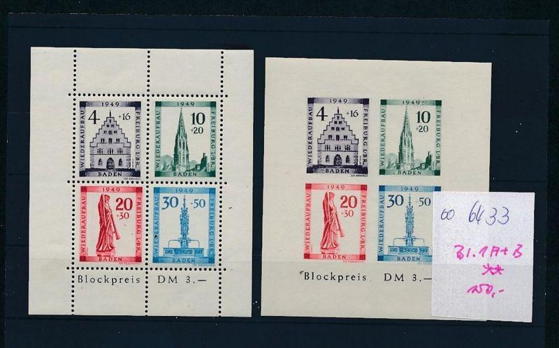 Baden  Bl.1 A+B  **   (oo6433  ) siehe scan