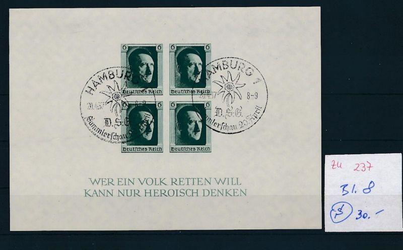 D.-Reich  Block 8  o-Zettel beachten     (zu237   ) siehe scan