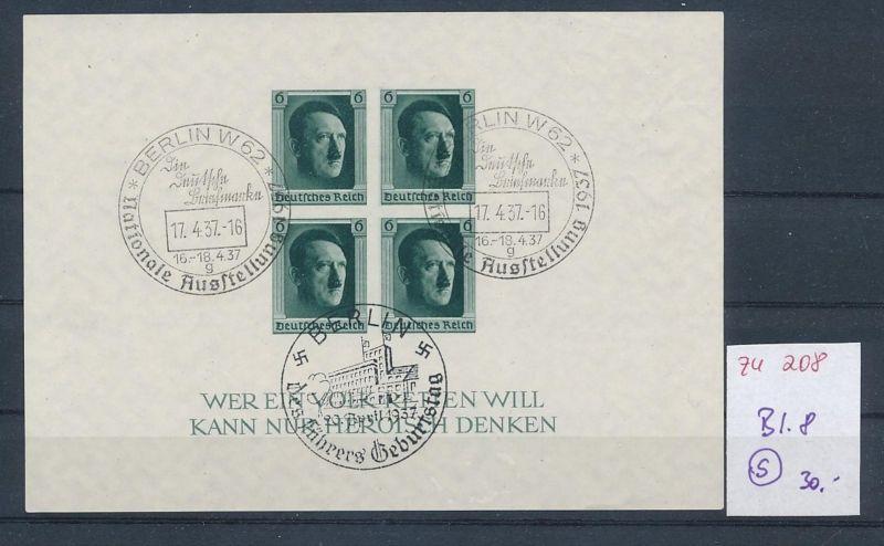 D.-Reich  Block 8  o-Zettel beachten     (zu208   ) siehe scan