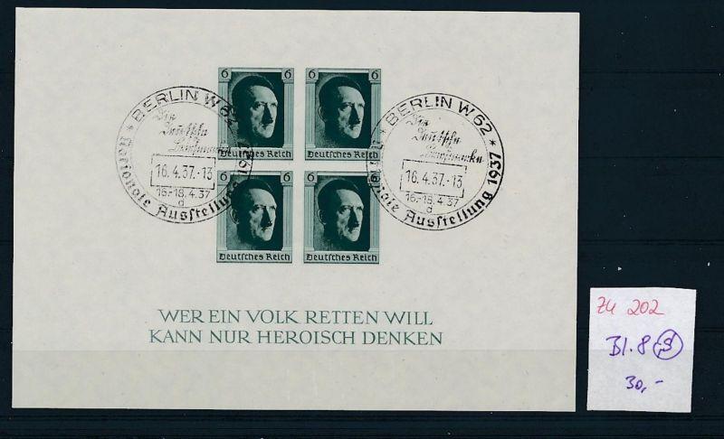 D.-Reich  Block 8  o-Zettel beachten     (zu202   ) siehe scan