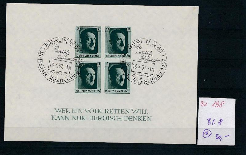 D.-Reich  Block 8  o-Zettel beachten     (zu198   ) siehe scan