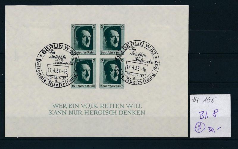 D.-Reich  Block 8  o-Zettel beachten     (zu195   ) siehe scan