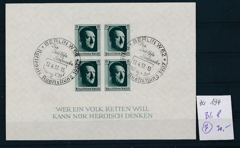 D.-Reich  Block 8  o-Zettel beachten     (zu194   ) siehe scan