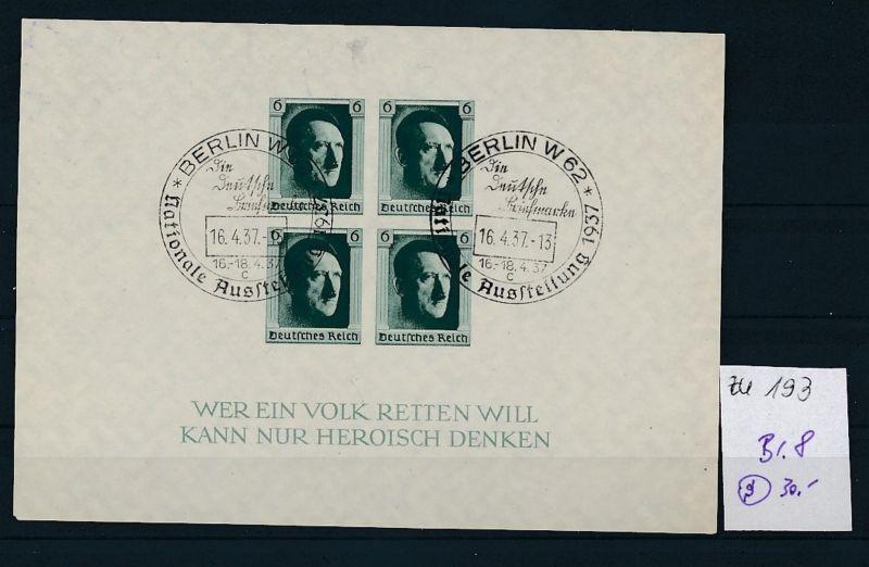 D.-Reich  Block 8  o-Zettel beachten     (zu193   ) siehe scan