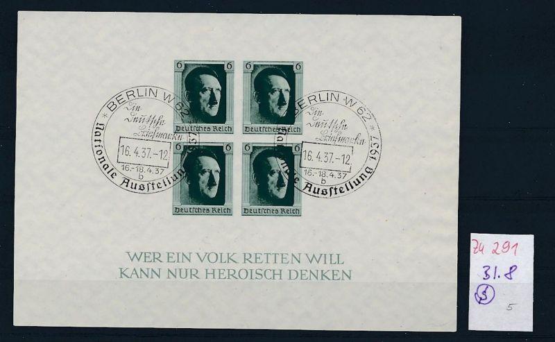 D.-Reich  Block 8  o-Zettel beachten     (zu291   ) siehe scan