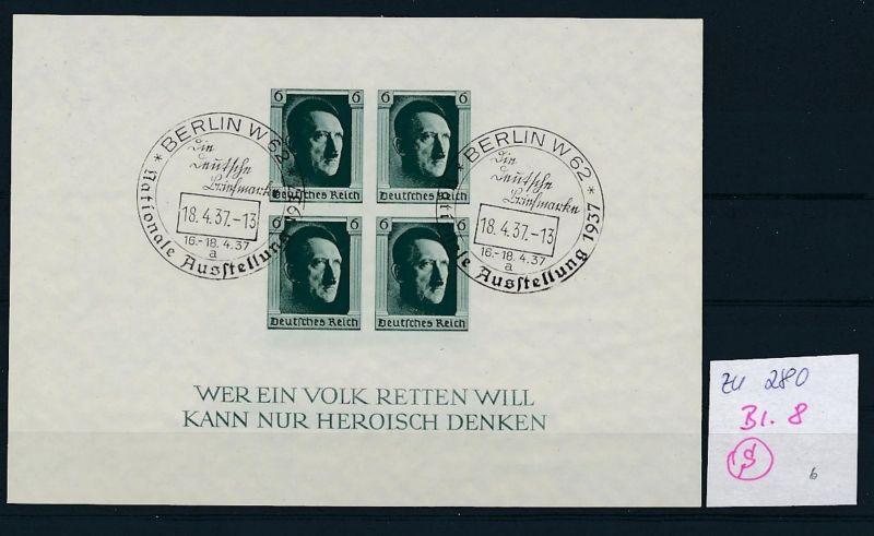D.-Reich  Block 8  o-Zettel beachten     (zu280   ) siehe scan