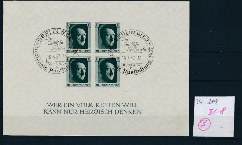 D.-Reich  Block 8  o-Zettel beachten     (zu279   ) siehe scan