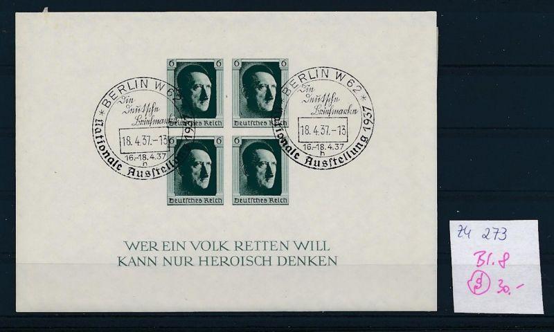 D.-Reich  Block 8  o-Zettel beachten     (zu273   ) siehe scan
