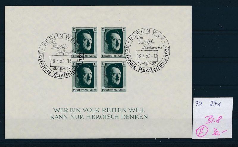 D.-Reich  Block 8  o-Zettel beachten     (zu271   ) siehe scan