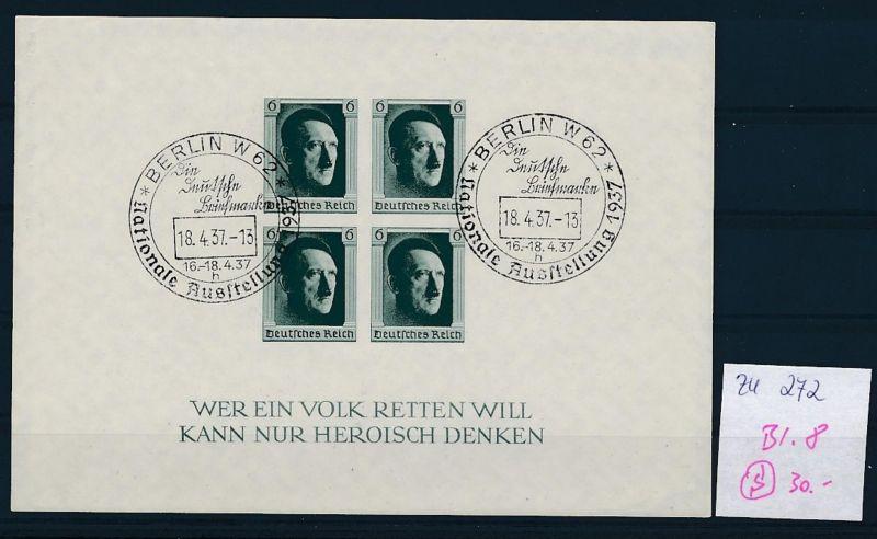 D.-Reich  Block 8  o-Zettel beachten     (zu272   ) siehe scan
