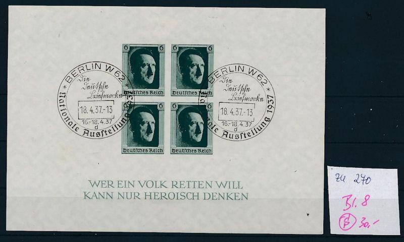D.-Reich  Block 8  o-Zettel beachten     (zu270   ) siehe scan