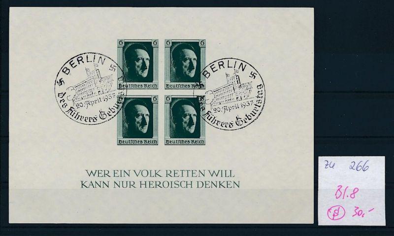 D.-Reich  Block 8  o-Zettel beachten     (zu266   ) siehe scan