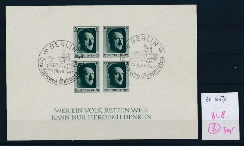 D.-Reich  Block 8  o-Zettel beachten     (zu254   ) siehe scan