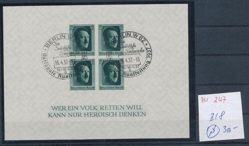 D.-Reich  Block 8  o-Zettel beachten     (zu247   ) siehe scan