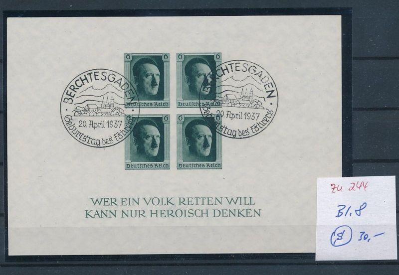 D.-Reich  Block 8  o-Zettel beachten     (zu244   ) siehe scan