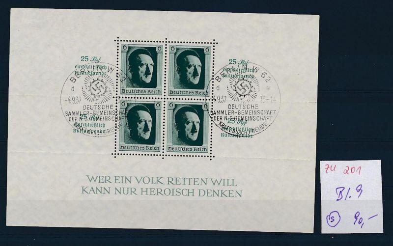 D.-Reich Nr. Block 9 - bitte Zettel beachten    (zu201  ) siehe scan