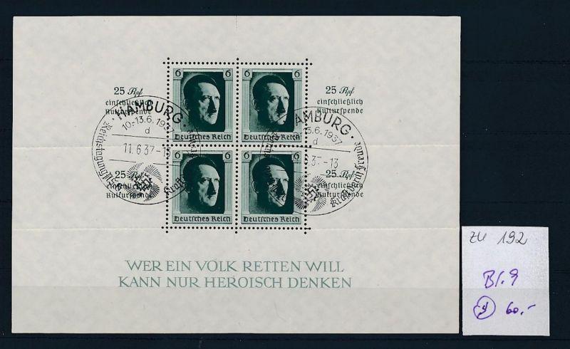 D.-Reich Nr. Block 9 - bitte Zettel beachten    (zu192  ) siehe scan