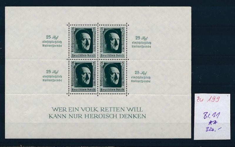 D.-Reich Nr. Block 11   - bitte Zettel beachten    (zu199  ) siehe scan