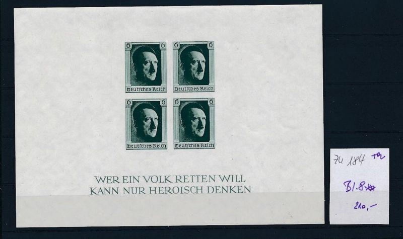D.-Reich Nr. Block  8   - bitte Zettel beachten    (zu184  ) siehe scan