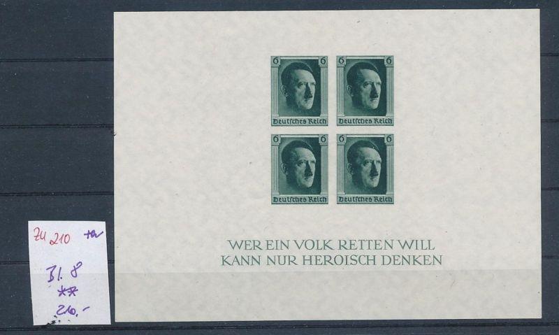 D.-Reich Nr. Block  8   - bitte Zettel beachten    (zu210  ) siehe scan
