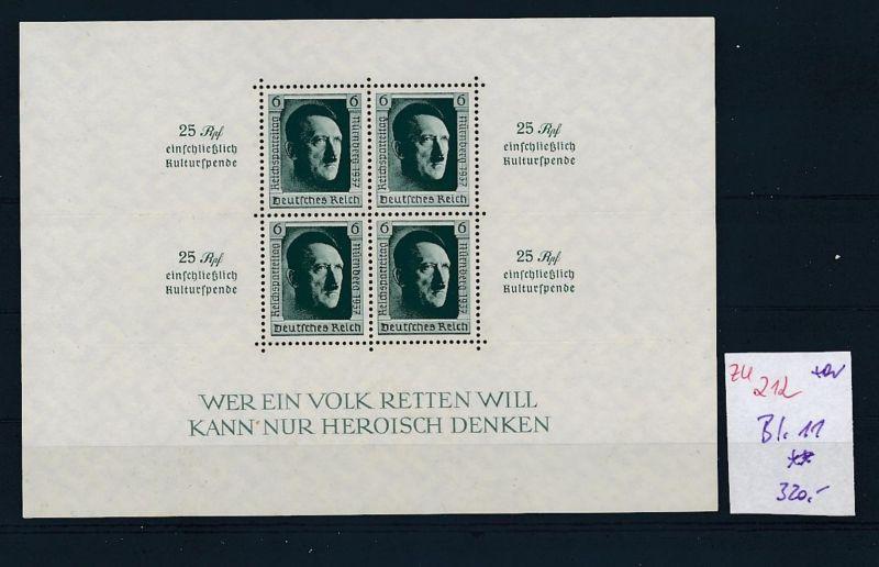 D.-Reich Nr. Block  11    - bitte Zettel beachten    (zu212  ) siehe scan