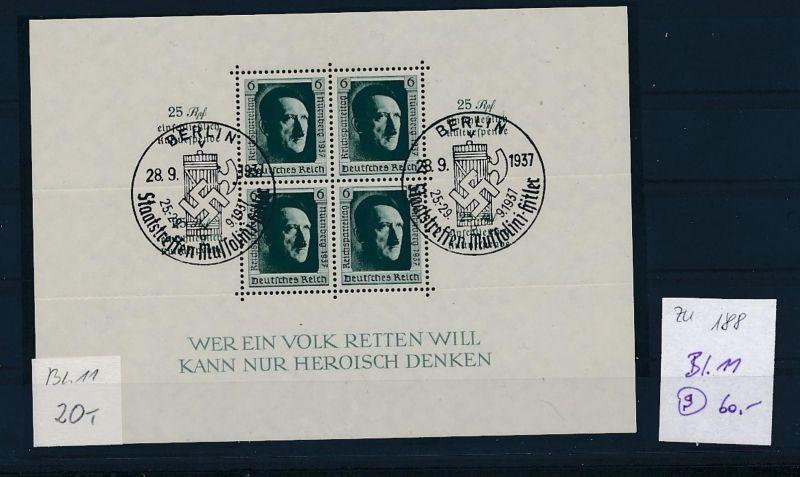 D.-Reich Nr. Block 11  -bitte Zettel beachten....    (zu188  ) siehe scan