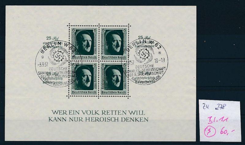 D.-Reich Nr. Block 11  -bitte Zettel beachten....    (zu278  ) siehe scan