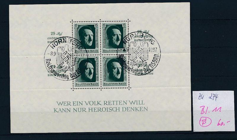 D.-Reich Nr. Block 11  -bitte Zettel beachten....    (zu274  ) siehe scan
