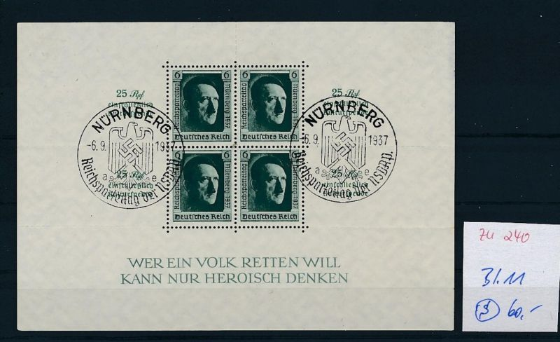 D.-Reich Nr. Block 11  -bitte Zettel beachten....    (zu240  ) siehe scan