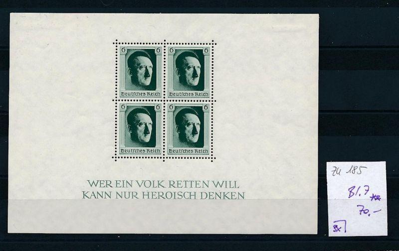 D.-Reich Nr. Block 7  -bitte Zettel beachten....    (zu185  ) siehe scan