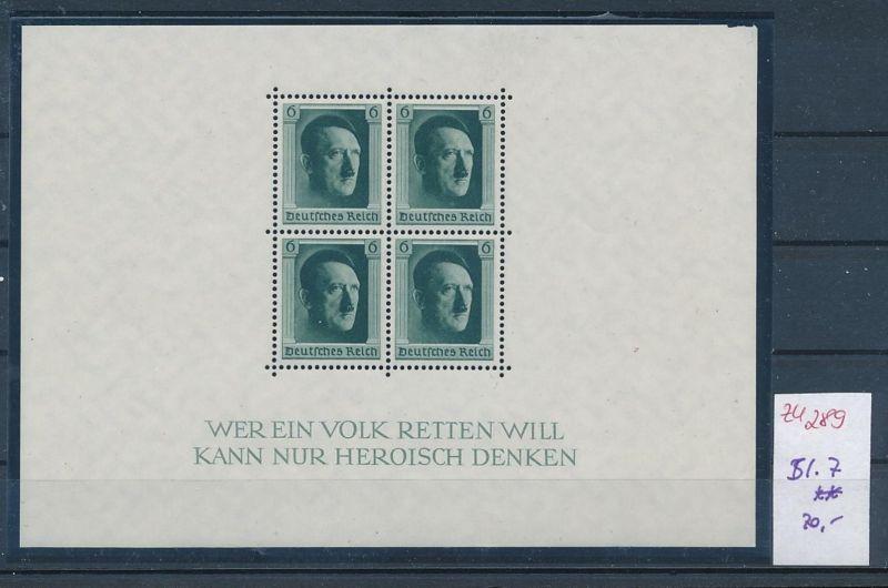 D.-Reich Nr. Block 7  -bitte Zettel beachten....    (zu289  ) siehe scan