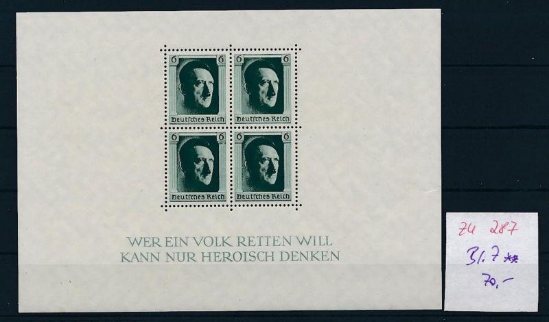 D.-Reich Nr. Block 7  -bitte Zettel beachten....    (zu287  ) siehe scan
